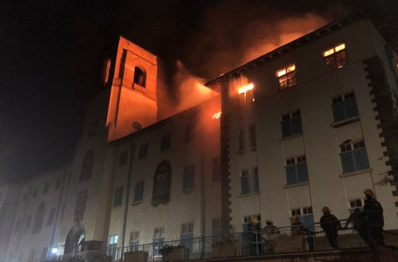 Makerere University Main Building in Flames